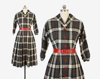 Vintage 50s DRESS / 1950s Tartan PLAID Black & Ivory Wool Full Skirt Shirt Dress xs - s