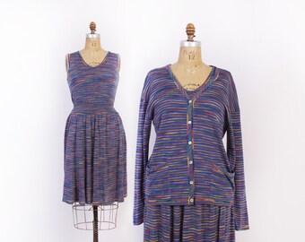 Vintage 80s MISSONI SET / 1980s 3 Piece Tank Skirt & Cardigan Striped Knit Designer Dress S - M