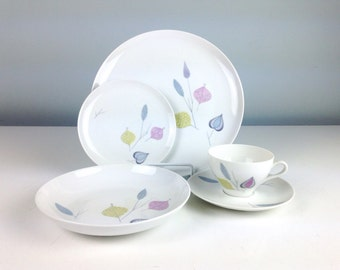Spring Theme by Eschenbach Babaria Germany Baronet China, Dinnerware Setting for One, 1950s Plate, Teacup and Saucer, Bowl, Bread Plate