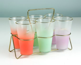 Vintage Blendo Drinking Glasses, Set of Six with Holder, Caddy, Ice Tea Glass, Summer Patio Decor, Mod Barware, Mid Century