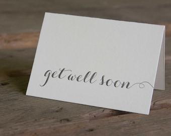 get well soon letterpress cards, in black ink letterpress printed card. Eco friendly