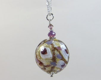 Venetian Murano Glass Necklace, Violet Amethyst White 24KT Goldfoil Murano Pendant with Swarovski Crystal & 925 Sterling Chain and Clasp