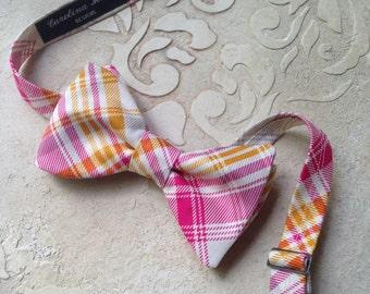 Plaid Bow Ties / Custom Made Bow Ties / Men's Plaid Cotton Bow Tie / Pink Plaid Pre-Tied Bow Ties / Wedding Bow Ties / Handmade Bow Ties