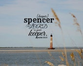 Nautical Spencer bible verse name Scripture design ocean Lord is your keeper Psalm nature photography Christian art print lighthouse