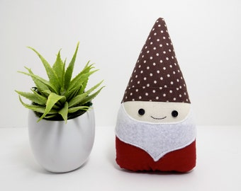 Gnome stuffed plushie in brown and maroon, soft gnome doll, small garden gnome, woodland room decor, garden gnome stuffed animal