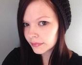 Black Crochet Slouchy Hat Fits Teen to Women-crochet hat-fall hat- slouch hat