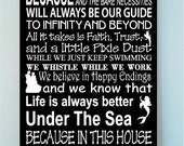 ON SALE Beautiful DISNEY famous movie quotes wooden subway art 12x24 sign Style 2-In this house we let it go because hakuna matata and the..