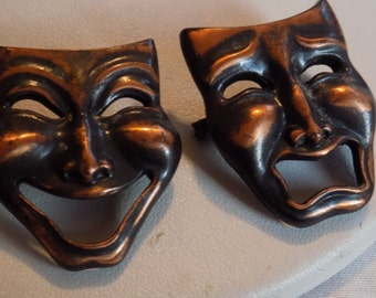 Vintage brooch, 2 copper comedy and tragedy masks, theater lover's masks, jewelry