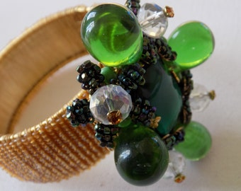 Vintage bracelet, Collectible rare signed Stanley Hagler green and clear glass beaded cuff bracelet, 1950's jewelry