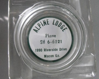 Alpine Lodge Souvenir Ashtray, Macon, Georgia, Vintage Ashtray, Travel Souvenir, Smoking Accessory, Motor Lodge, Road Trip, Vacation Travel