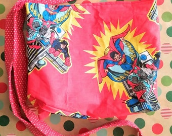 Superman vintage style upcycled large cross body bag in fire engine red