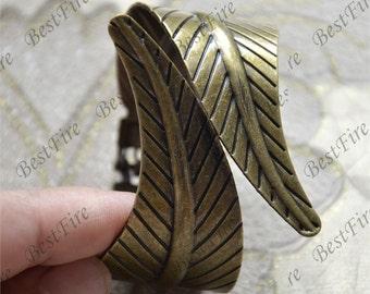 Antique bronze leaf Adjustable bracelet ,bangle findings, bracelet findings