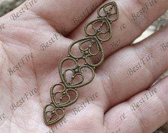10pcs Antique Brass heart Filigree Jewelry Connectors Setting,Connector Findings,Filigree Findings,Flower Filigree