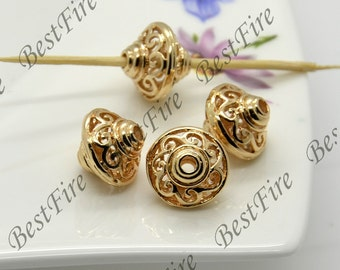 2 pcs 12x13mm 24K Gold Plated Brass Charm Pendant Spacer,Charms Jewelry Findings,metal brass spacers finding beads