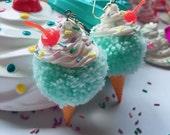Mint Ice Cream Pom Pom Earrings