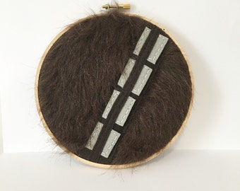 Chewbacca Embroidery Hoop, Star Wars Wookiee, Ready to Ship