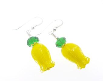 Yellow Earrings, Lampwork Earrings, Tulip Earrings, Glass Bead Earrings, Lampwork Jewelry, Dangle Drop Flower Earrings, Glass Bead Jewelry