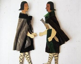 ON SALE Antique Medieval Articulated Puppet Dolls - Vintage Handmade Dolls