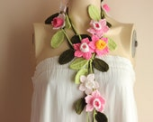 Crochet Lariat Scarf- Flower Lariat Scarf- Jewelry Scarf-Pink,Fuchsia,White  Daffodil/Jonquil/Narcissus Scarf-christmas gift