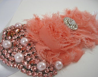 Coral bridal sash - sash with crystals - sash for wedding - maternity sash