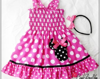 Minnie Mouse inspired dress , Girls Minnie Mouse dress, Pink and white polka dot dress for girls, Minnie Dress and matching headband