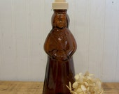 Vintage Smaller Amber Glass Mrs. Buttersworth Aunt Jemima Syrup Bottle Soap Lotion Dispenser