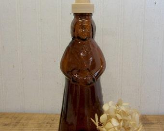 Vintage Smaller Amber Glass Mrs. Buttersworth Aunt Jemima Syrup Bottle Soap Lotion Dispenser