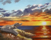Alligator painting by RUSTY RUST gator reptile sunset 24x36 oils on canvas / A-126
