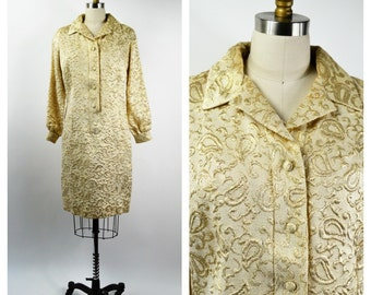 Vintage Sparkly Gold Metallic Dress Size Medium Gold Paisley Matelasse Shirt Dress Long Sleeves Button Front