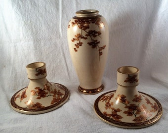 Japanese Candle Holders and Vase by Koshida.  Vase and Two Candle Holders All in a Maple Leaf Pattern