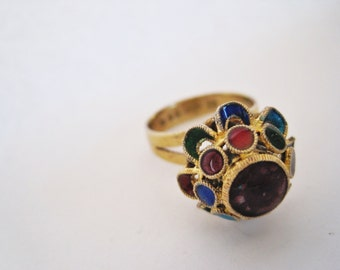 Vintage Chinese Export Gold Gilt Silver and Enamel Ring, Size 8.5, Export Jewelry, Enamel Jewelry