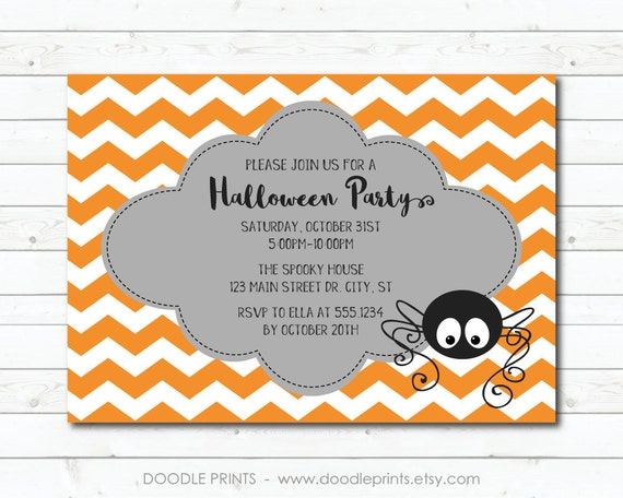 """Printable Halloween Party Invitation, Itsy Bitsy Not so Scary Spider Party Design, Halloween Invitation, Trick or Treat, 4x6"""" OR 5x7"""""""