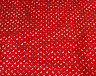 SALE, Red Calico Fabric, 1 1/2 Yard