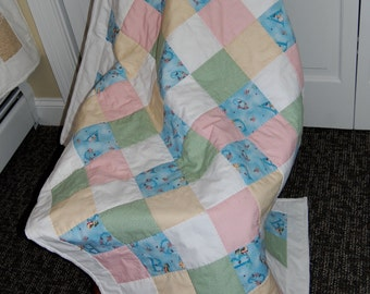 FREE SHIPPING, Betrix Potter Baby Quilt, Alphabet Quilt, Hand Quilted