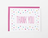 Thank You Card | Confetti Polka Dot Thanks Greeting Card | Pink
