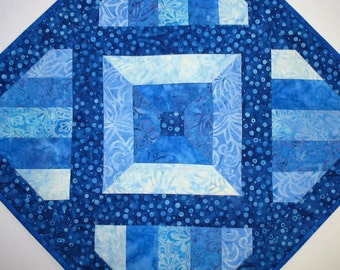 Batik Table Topper, Blues, Wall Hanging, quilted, Center Piece, Candle Mat