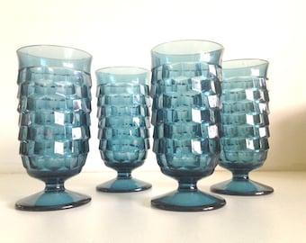Vintage Fostoria Blue Pedestal Glassware