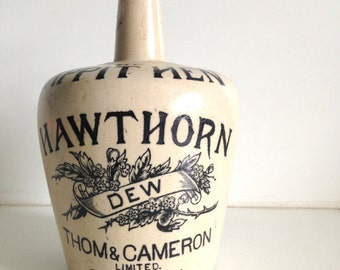 Antique Tappit Hen Hawthorn Dew Thom & Cameron. Scotch Whisky Stoneware Jug