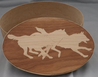 Shaker oval box with wolf inlay