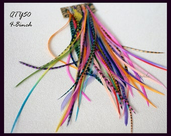 Hair Feathers 50 Feather Hair Extensions Short/Medium Hair Plume Fuchsia Turquoise Purple Lime Variety of Colors