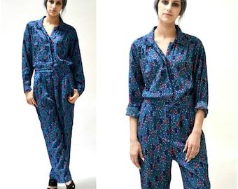 Vintage Diane Von Furstenberg Jumpsuit Size Medium Large Abstract Print// Blue Printed Jumpsuit Medium Large By DVF