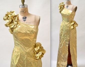 Gold Metallic 80's Prom Dress Size Medium Large // Vintage Gold Evening Gown Pageant Dress by Mike Benet Size Medium Large