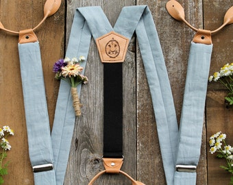 ButtonOn Suspenders// Light Blue Tan Leather // Vintage Style // Mens Suspenders// Groom Outfit // Groomsmen Outfit // Wedding