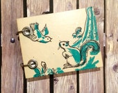 Recycled Notebook - Small Refillable Notepad - Squirrel and Bird - Upcycled Children's Book