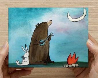 Art Post Card Whimsical Woodland Campfire Bear Postcards Blank Greeting Card Kids Art