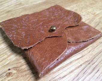 Fern Leaf Pattern Leather Earphone or Earbud Pouch or Just a Cute Pouch. Tan Brown. Antique Brass Coloured Rivet Closure. Eco Friendly. Slig