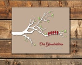 Personalized Grandparents Christmas Gift Gift for Grandma and Grandpa Family Tree with birds and names custom colors 8 x 10""