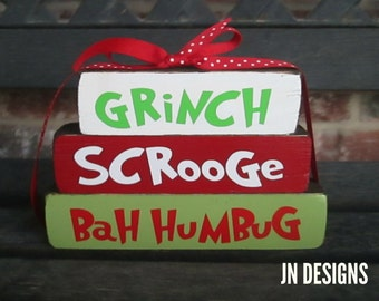 "Christmas wood blocks-Grinch""MINI"" stacker blocks"