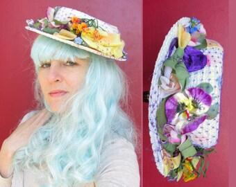 Silk Flower Covered VINTAGE Hat c. 1950s-60s White Boater Hat