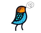 Contemporary Stained Glass Singing Bird in Orange/Teal/Turquoise (IN STOCK)